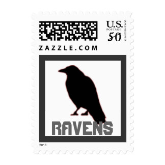 Raven Bird Crow School Mascot postage stamp