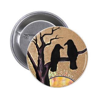 Raven Birds Crow Spooky Protector Button
