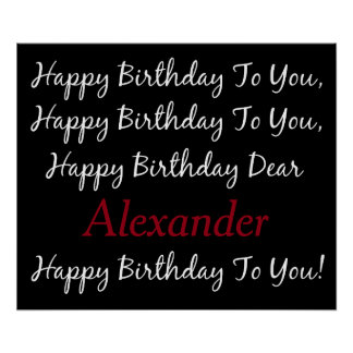 Raven Black and White Birthday Song Personalized Poster