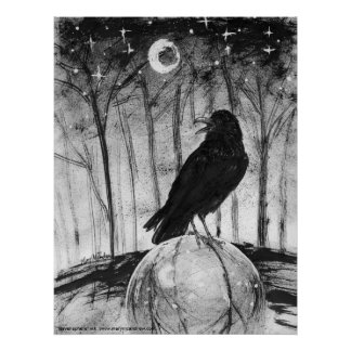 Raven (black bird) in woods with Moon and stars Poster