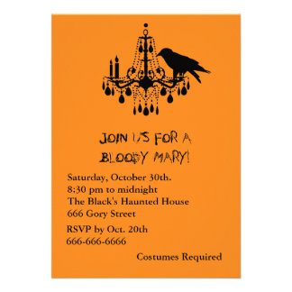 Raven Black Halloween Invitation