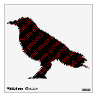 Raven Black Red Poem Text Wall Decal