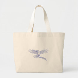 Raven Carrying Quill Drawing Large Tote Bag