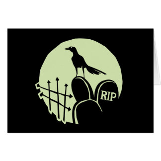 Raven Cemetery Moon Greeting Card