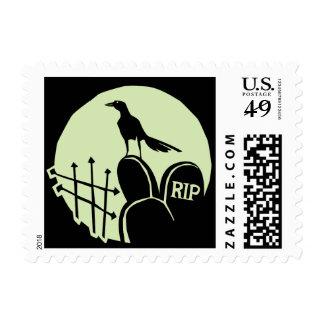 Raven Cemetery Moon Postage Stamp