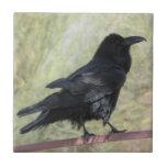"""Raven Ceramic Tile<br><div class=""""desc"""">A photo of a raven on a fence</div>"""