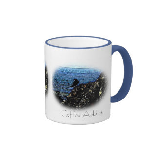 Raven Coffee Addict art mug