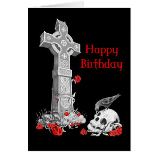 Raven, Cross and Skull Stationery Note Card