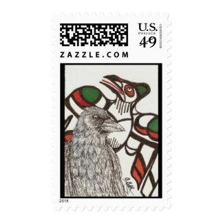 Raven / Crow Totem Art First Class Stamp
