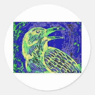 raven day glow classic round sticker