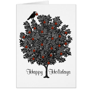 Raven Decorates Christmas Tree Card