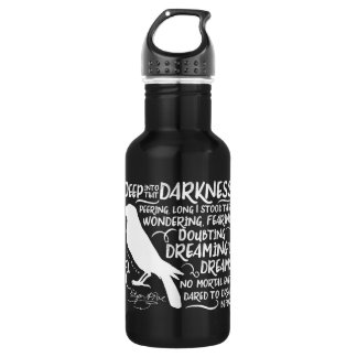 Raven (Deep Into That Darkness) by Edgar Allan Poe Stainless Steel Water Bottle