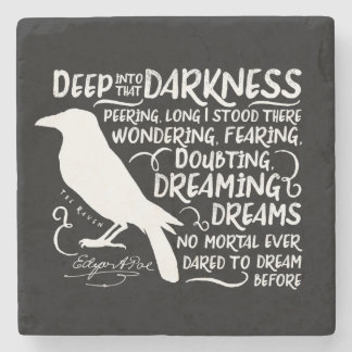 Raven (Deep Into That Darkness) by Edgar Allan Poe Stone Coaster