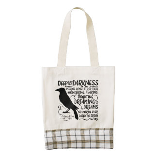 Raven (Deep Into That Darkness) by Edgar Allan Poe Zazzle HEART Tote Bag