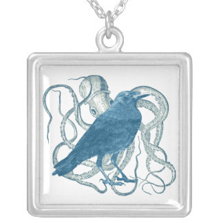 Raven Dreams of the Octopus Square Pendant Necklace
