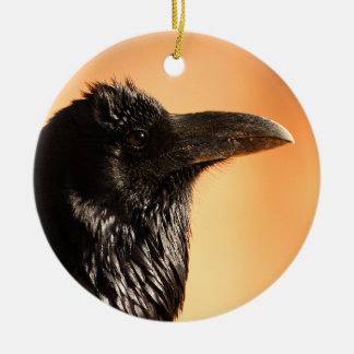 raven face ceramic ornament