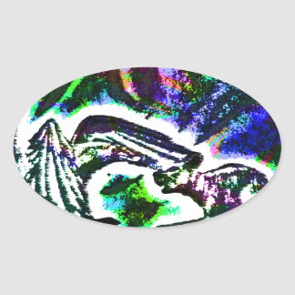 Raven feeding a Rat On a Cold Winter Day Oval Sticker