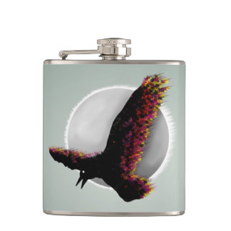 Raven Flying At Midnight Hip Flask