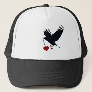 Raven Flying Away With Heart Trucker Hat