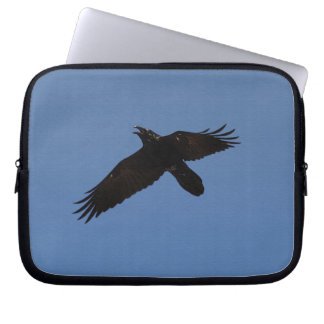 Raven Flying in Blue Sky Art Print Computer Sleeve