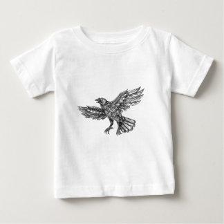 Raven Flying Up Geometric Mandala Tattoo Baby T-Shirt