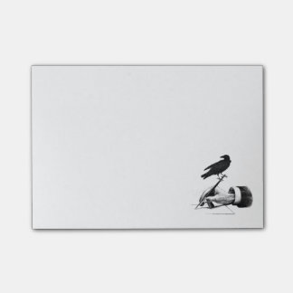 Raven Fountain Pen in Hand Note Pad Post-It Notes