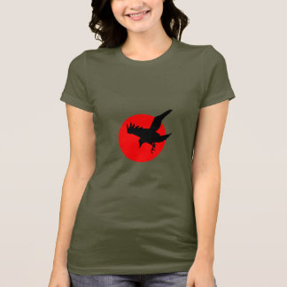 Raven full blood red moon Happy Halloween T-Shirt