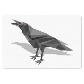 Raven Geometric Cubist Black and White Triangles Tissue Paper