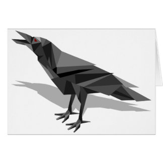 Raven Geometric Cubist Grey Triangles Card