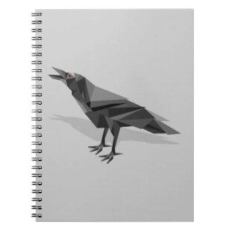 Raven Geometric Cubist Grey Triangles Notebook