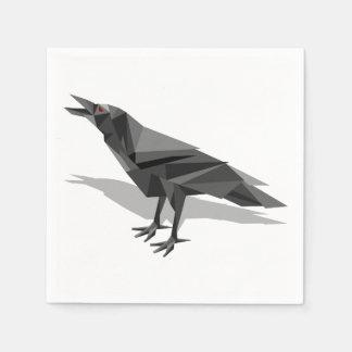 Raven Geometric Cubist Grey Triangles Paper Napkin