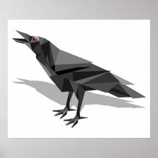 Raven Geometric Cubist Grey Triangles Poster