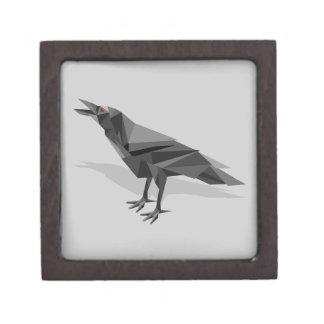 Raven Geometric Cubist Grey Triangles Premium Trinket Box