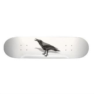 Raven Geometric Cubist Grey Triangles Skateboard