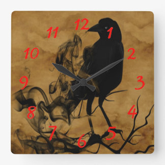 Raven Ghost Square Wall Clock