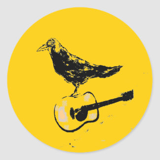 raven guitar song classic round sticker