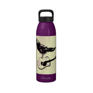 raven guitar song drip painting water bottle