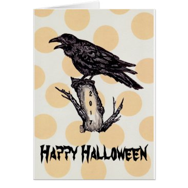 Halloween Themed Raven Halloween Card Yellow Moon Personalize, Date