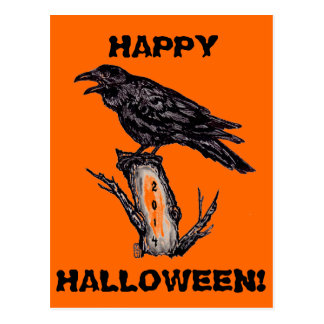 Raven Halloween Postcard, Dated 2014 Postcard