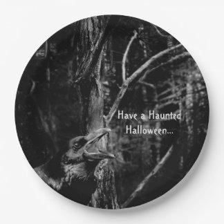 Raven Haunted Halloween plate