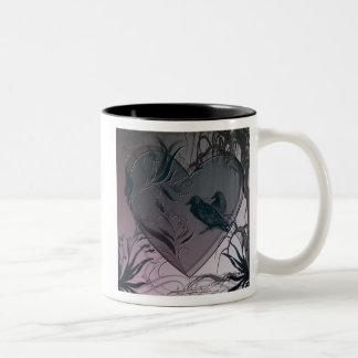 raven heart Two-Tone coffee mug
