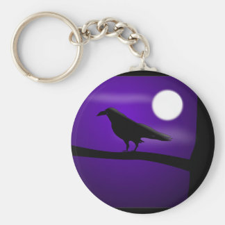 raven_illustration_Vector_Clipart black purple Keychain