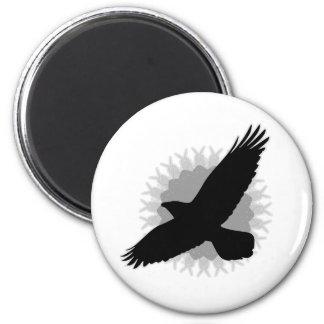 Raven in Flight 2 Inch Round Magnet