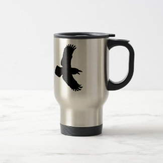 Raven In Flight Bird Print Travel Mug