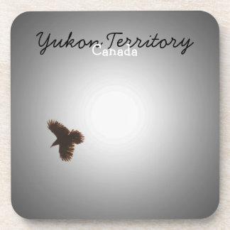 Raven in Flight; Yukon Territory Souvenir Beverage Coaster