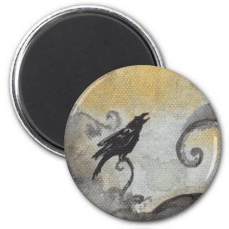 Raven in Orange Swirls Magnet