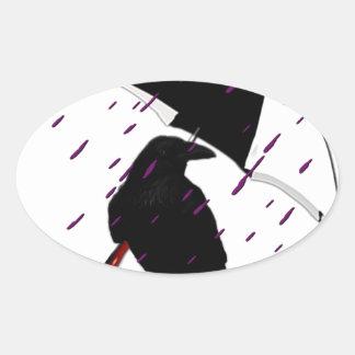 Raven in the Purple Rain Oval Sticker