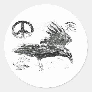 raven journey classic round sticker
