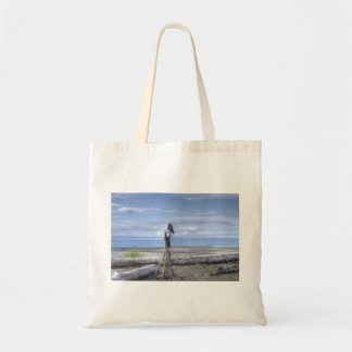 Raven looking out to sea cloth shopping bag. tote bag