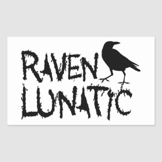 Raven Lunatic Black Crow Rectangle Sticker